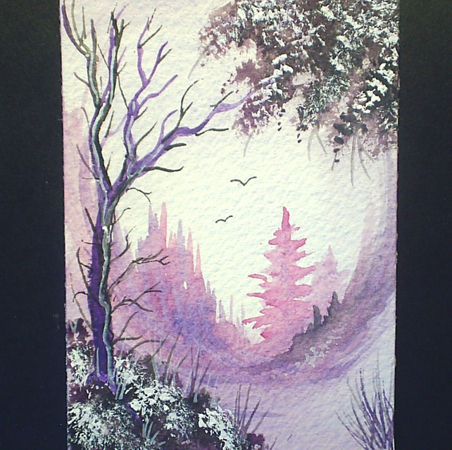 aceo original fantasy purple landscape