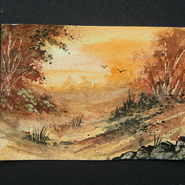 autumn sunset art landscape painting aceo ref 225