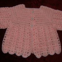 SALE BARGAIN Baby's crocheted pink matinee coat ref 494104