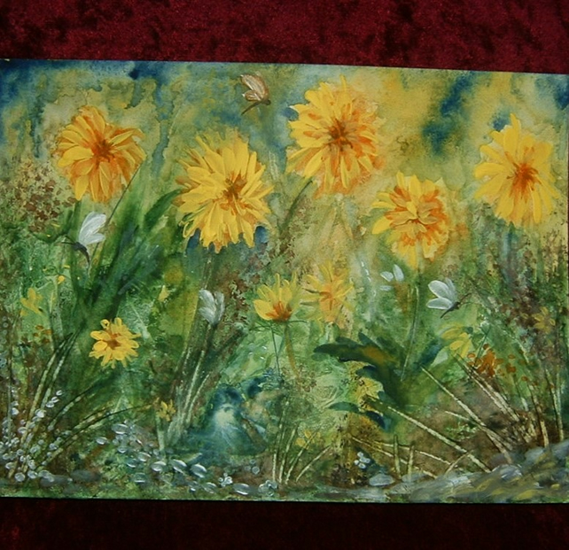 watercolour original  art painting garden impressionist (ref 822)