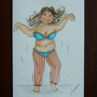 cartoon Belly dancer blank greetings card ref 902