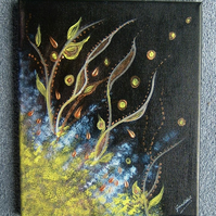 Abstract acrylic box canvas art painting. (ref 979)