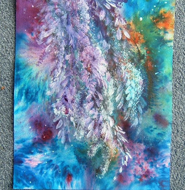 Mixed media impressionist abstract blossoms art painting (ref 980)