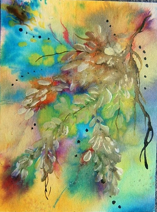art painting mixed media impressionist floral (ref 992)