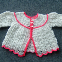 SALE BARGAIN...baby crocheted matinee coat ref 595