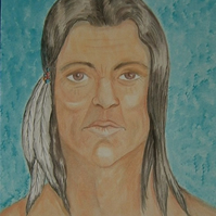 Indian head portrait acrylic art painting (ref 641)