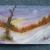winter art landscape painting watercolour (ref 869)