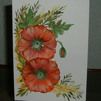 Hand Painted poppies greetings card (Ref 692)