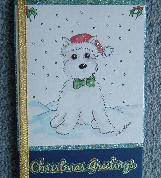 Dog Christmas Cards.Hand Painted Westie Dog Christmas Card Ref 713