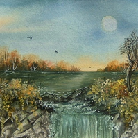 watercolour art painting waterfall (ref 894)