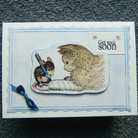 get well soon card cat and mouse (ref 929)