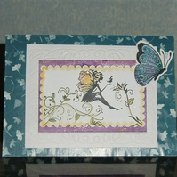 fairy and butterfly greetings card Blank inside (ref 053)
