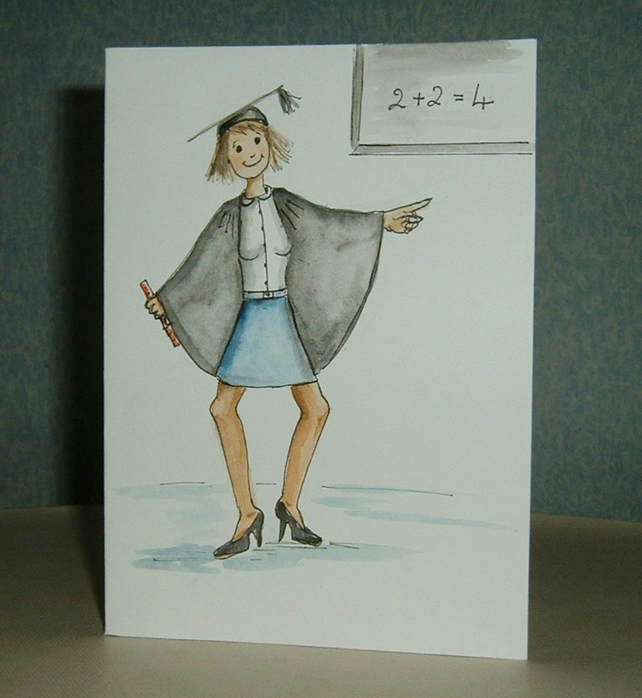 Teacher's thank you, leaving school cartoon card (ref 070)