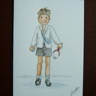 schoolboy cartoon greetings card (ref 072)