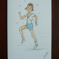 cartoon lady jogger greetings card (ref 073)