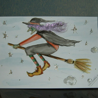 hand painted cartoon witch greetings card (ref 074)