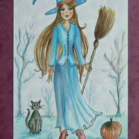 cartoon witch painting (ref 075)