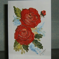Hand painted roses greetings card (ref 100)