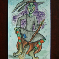 cartoon hand drawn and painted witch (ref 107)