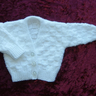 white baby V neck cardigan (ref 114)