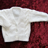 Hand knitted white baby cardigan (ref 127)