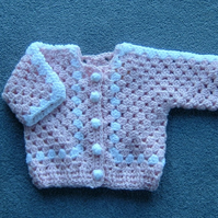 SALE Pink crochet baby jacket (ref 138)