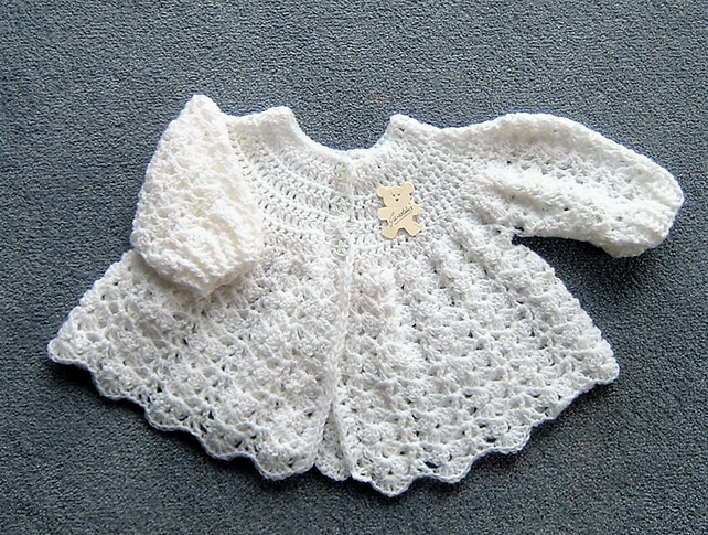 crocheted Baby matinee coat (ref 147)