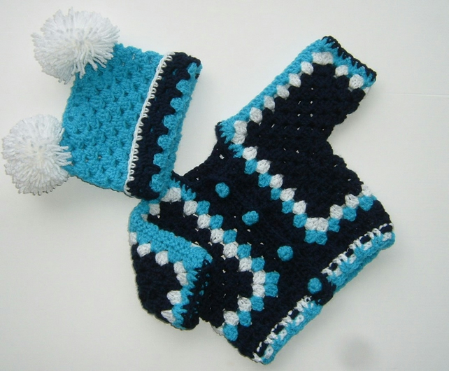 SALE New Baby cardigan and hat set (ref 158)