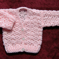 Pink lacy cardigan 0-3 months (ref 16176)
