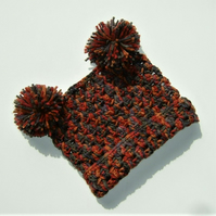 SALE Baby T bag hat with pompoms (ref 17185)
