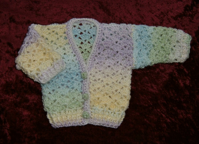 SALE rainbow lacy V neck baby cardigan (ref 17797)