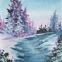 aceo art painting watercolour snow scene (ref 183)