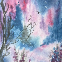 fantasy watercolour landscape aceo (ref 184)