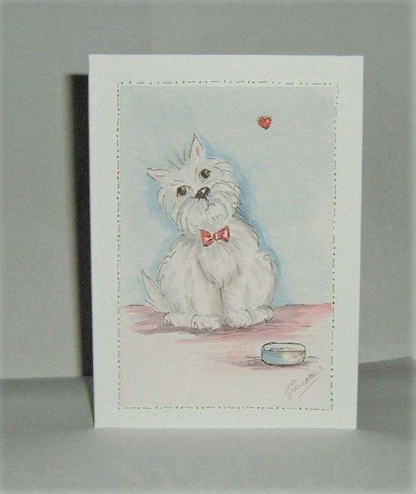 Hand painted greetings card (ref 190)