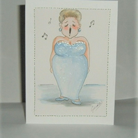 lady singer cartoon card original art (ref 192)