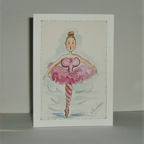 Greetings card cartoon ballerina (ref 194)