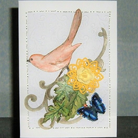 greetings card butterfly and bird blank card (ref 928)