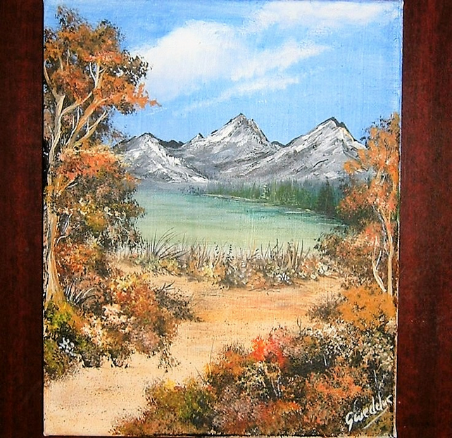acrylic box canvas landscape art painting (ref 924)