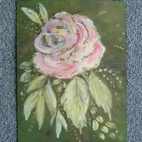 Mixed media floral painting with glitter ( ref 963)