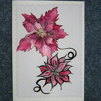 Poinsettia blank greetings card (ref 957)