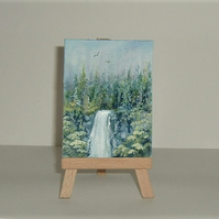 aceo art painting waterfall landscape ( ref 206)