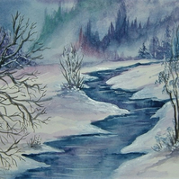 watercolour art painting winter snow (ref F221)