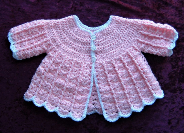 baby matinee coat...pink and white (ref F373)