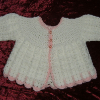 SALE white pink crochet matinee coat (ref F374)