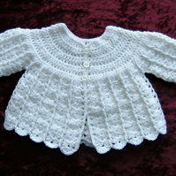 SALE white baby cardigan (f 385)