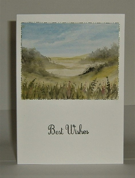 hand painted landscape blank card  (ref F395)