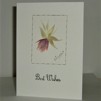 hand painted Best Wishes greetings card ( ref F402)