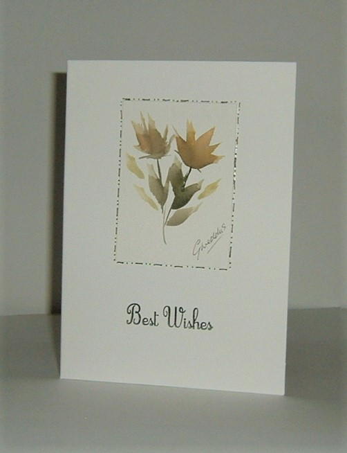 floral art hand painted greetings card (ref F403)