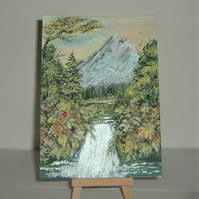original art painting  mountain waterfalls (ref F445)