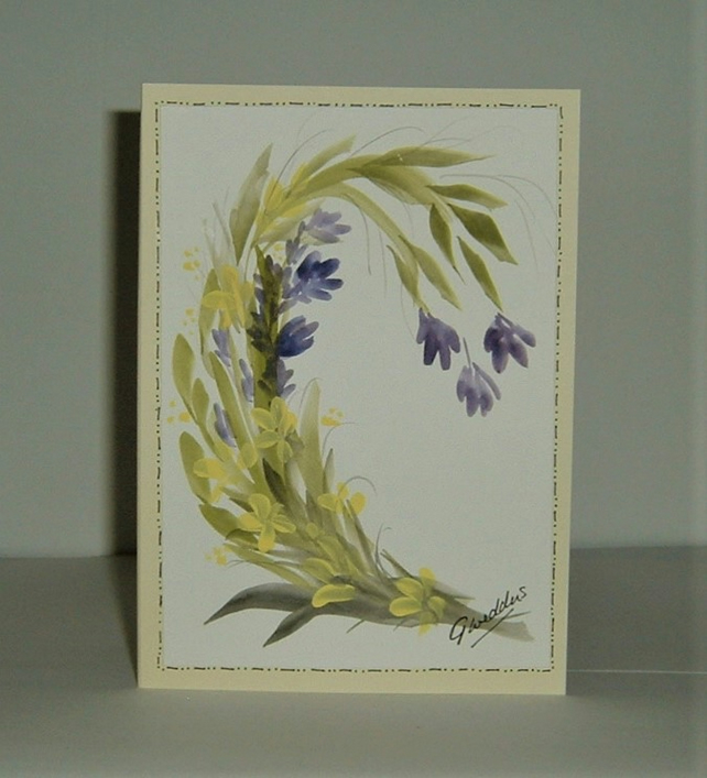 original hand painted floral greetings card ( ref F 456)